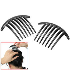 2Pcs Lady Girls Styling Jewelry Black Plastic Side Clip Decorative Hair Comb