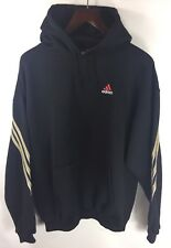 ADIDAS BLACK HOODIE SWEATSHIRT WITH RED & WHITE LOGO & GOLD SLEEVE STRIPES SZ L