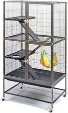 Ferret Cage Metal Pet Enclosure Rolling Stand 3 Level Ramps Escape Proof Black