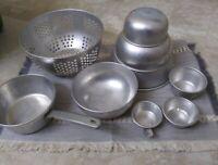 Vintage Aluminum Mirro Pot, Plus Unbranded Alum. Bowls, Strainer, Measuring Cups