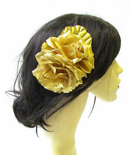 Large Gold Rose Flower & Leaves Hair Comb Vintage Headpiece 1940s 1516