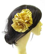 Large Gold Rose Flower & Leaves Hair Comb Vintage Headpiece 1940s 1516