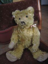 "Antique GOLDEN MOHAIR JOINTED GROWLER SHOE BUTTON EYES 17"" TEDDY BEAR STEIFF?"