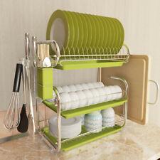3 Tier Stainless Steel Dish Drainer Cutlery Rack Organiser Kitchen Drip   New
