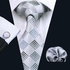USA Classic Silk Silver White Mens Ties Set Plaid Necktie Hankderchief Cufflinks