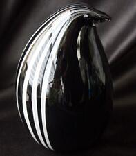 Black & White Striped Penguin Murano Glass Italy