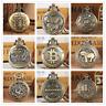 Vintage Bronze Round Case Men's Quartz Pocket Watches Necklace Pendant Chain