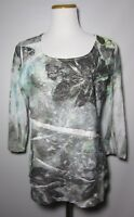 Coldwater Creek Tiered Gauzy Blouse Top Sz M 10-12  Multi Color 3/4 sleeves