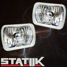 "2 PIECE 7"" RECTANGLE H4 CRYSTAL SEALED BEAM CONVERSION HEADLIGHTS LAMPS"