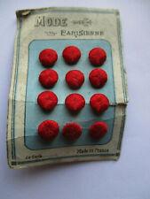 """Carte de 12 petits boutons anciens 1900 brodés """"Mode parisienne"""" rouge"""