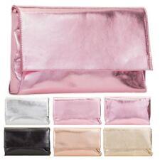 New Metallic Faux Leather Women's Evening Clutch Bag Handbag