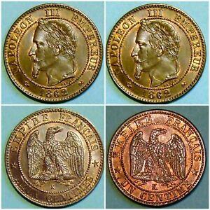 LOT NAPOLEON III PIECES DE 1 et 2 CENTIMES 1862 K  NEUVES Rare de cette qualité