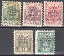 Poland 1919 First Philatelic Exhibition - overprint - Mi. 118-122 A - MNH (**)