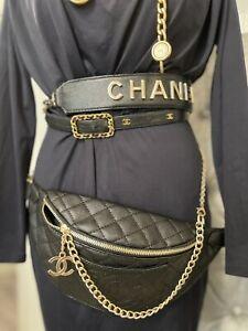CHANEL BLACK BAG QUILT 2.55 GOLD CHAIN  BUMBAG WAIST FANNY PACK POUCH CC LOGOS