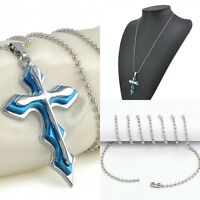 Womens Mens Stainless Steel Silver Chain Necklace Charm Blue Cross Pendant Gift