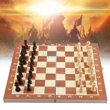 Durable Wooden Large Folding Chess Board & Chess Pieces Set Storage Box Case SD
