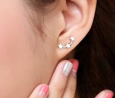 Pair Of Vintage Cute Silver Plated Small Stars Stud Earrings Ear Rings Cuff ER06