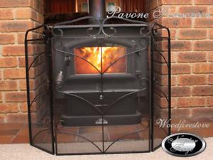 Pavone WROUGHT IRON FIRE SCREEN / GUARD SHIELD / FIREPLACE FIRESCREEN / 3 PANEL