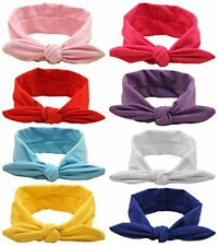 Baby Hairband Girl Elastic Hair accessories Headbands 8 Pack Solid Bunny Ears