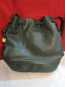 Giani Bernini Green Leather Bucket Bag W/Draw String Crossbody Bag