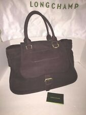Longchamp Balzane Chocolate Brown Suede Perforated Top Handle Tote Handbag $1165