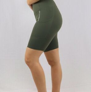 Green High-Waist Cycling Shorts with Pocket