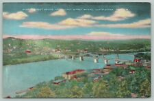 Chattanooga Tennessee~Market & Walnut Street Bridges~1940s Linen Postcard