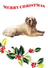 CLUMBER SPANIEL SINGLE DOG PRINT GREETING CHRISTMAS CARD