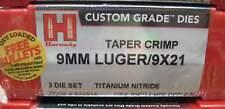 Hornady 9mm Luger Custom Grade Titanium Nitride 3 Die Set TAPER CRIMP 546516
