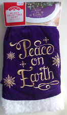 "Holiday Time Velvet Tree Skirt 48"" embroidered Peace On Earth purple & white fur"