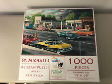 "SUNSOUT ST. MICHAEL'S JIGSAW PUZZLE 1000PC BY KEN ZYLLA 19"" X 30"" EUC COMPLETE"