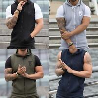 BBH Mens Sleeveless Hoodie Tank Top Zipper Hooded Sweatshirt Gilet Gym Jumper