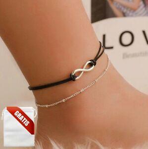 Fußkettchen Damen Leder Infinity Ewig Fußkette Silber Fusskette Schmuck Geschenk
