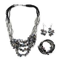 Steel Black Seed Bead Drop Earrings Wrap Bracelet Multi Strand Necklace Set