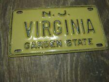 Vintage New Jersey Garden Sta Mini Bike Virginia Vanity Name License Plate Sign