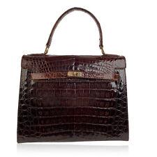 Authentic Vintage Brown Crocodile Leather Top Handle Bag Satchel Box Bag
