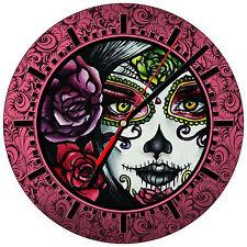 """8"""" WALL CLOCK Sugar Skull 20 Dia de los Muertos Day of the Dead Halloween Tattoo"""