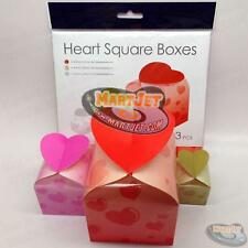 3pcs Heart Design Foldable Paper Square Gift Boxes Present Ring Earring Necklace