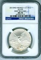 2015 MEXICO 1/2 OZ ONZA SILVER LIBERTAD NGC MS70 FIRST RELEASES RARE TOP POP=15