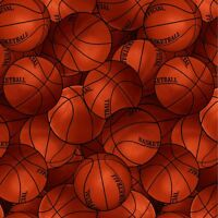 """Packed Sports Basketball Premium 100% Cotton Fabric Remnant 24"""""""