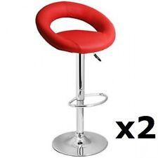2 X RED Chrome Bar stool Swivel Apollo Breakfast Kitchen barstool (X2) T307G