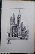 ROBIDA Cathédrale COUTANCES Grande Lithographie originale Signée 82/125 MANCHE