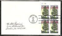 US SC # 2246 Michigan Statehood FDC. Block Of 4, Plate #. Uncacheted.