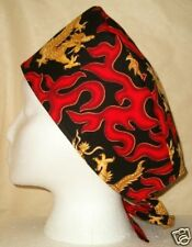 Surgical Scrub Hat Cap Made with Chinese Dragons Flames Fabric Nurse ER Skull