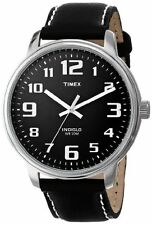 Timex T28071, Men's Large Easy Reader, Black Leather Watch, Indiglo
