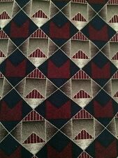 Milano 100% Silk Tie~Made in USA~Geometric Pattern in Red and Navy Blue Colors