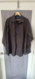 Mens Peter England Long Sleeve Dress Shirt Black 18 inch BNWT