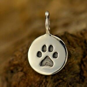 Dog Paw Print Cat 925 Sterling Silver Round Etched Charm Necklace Pendant 682