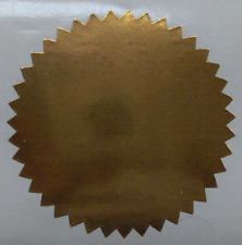 Shiny Bronze Foil Notary & Certificate Seals, 2 Inch Burst, Roll of 100 Seals