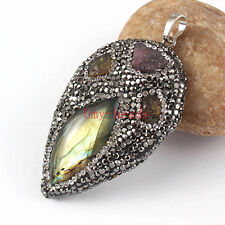 Natural Tourmaline Labradorite Crystal Water Drop Leaf Gemstone Pendant Jewelry